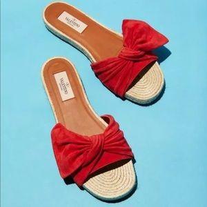 Valentino suede knot espadrille slides sandals